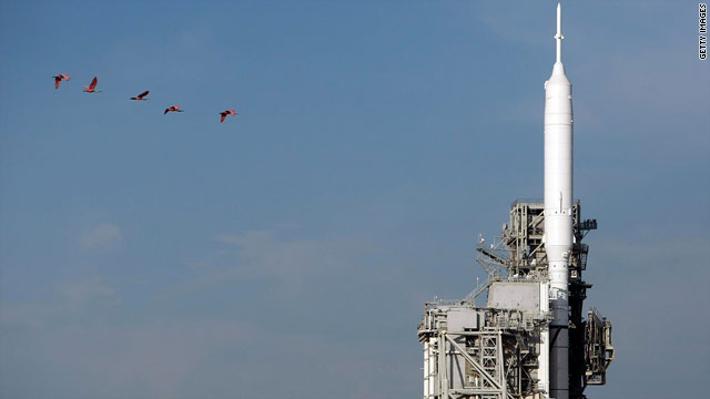 NASA's Ares 1-X rocket sits on launch pad 39-B at Florida's Kennedy Space Center on Monday.