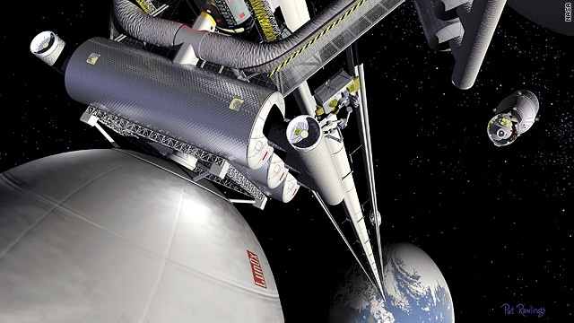 This concept image from NASA shows what a space elevator and transfer station could look like.