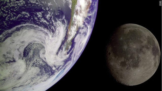 This image of Earth and moon is a composite of two images sent back by the Galileo spacecraft.