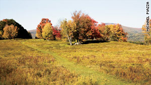 Fall color splashes the grounds of the Sterling and Francine Clark Art Institute in Williamstown.