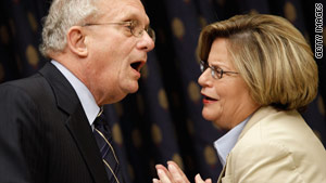 Rep. Howard Berman, D-California, and Rep. Ileana Ros-Lehtinen, R-Florida, talk before the hearing Thursday.