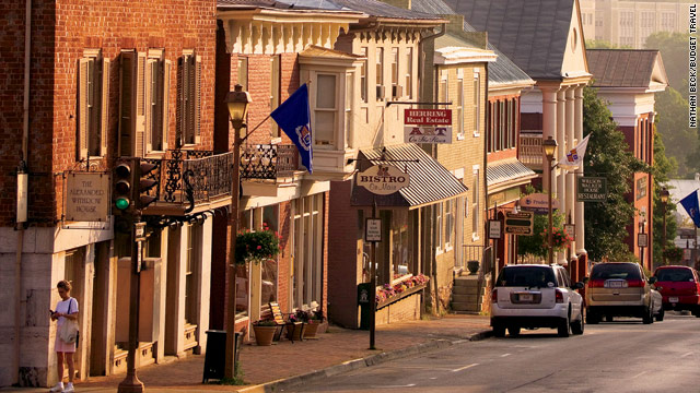 Main Street in Lexington, Virginia, lined with 19th century storefronts