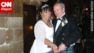 Susan and Gordon Topping on their wedding day at a 15th century castle in Scotland.