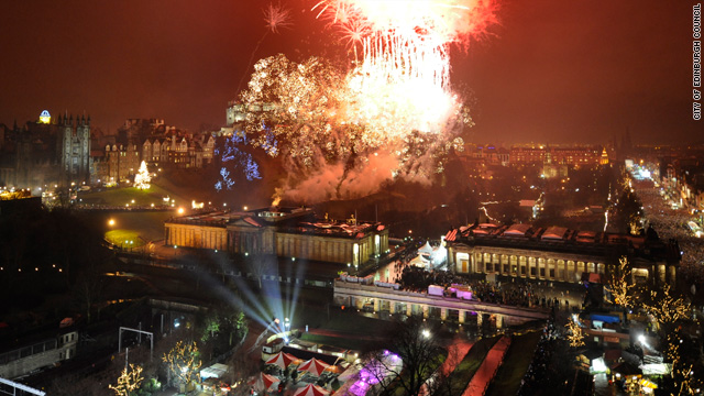 Midnight fireworks over Edinburgh Castle are a highlight of the five-day Hogmanay festival in Edinburgh, Scotland.
