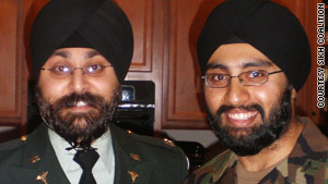 The Army will allow Kamaljit Singh Kalsi, left, to keep his beard and turban. Tejdeep Singh Rattan is awaiting a decision.