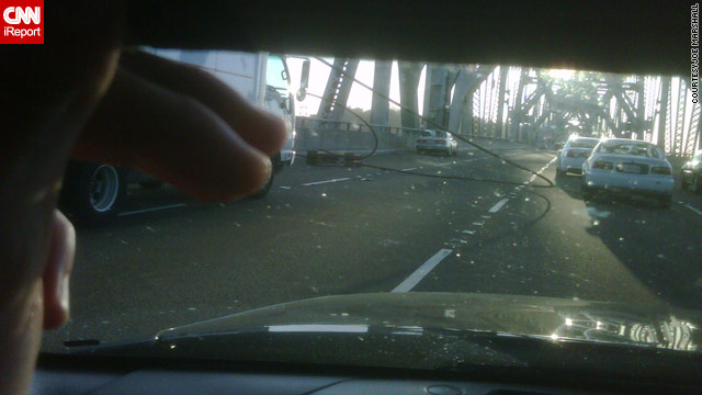 Joe Marshall, an iReporter, was 50 yards behind where the cable fell on the San Francisco-Oakland Bay Bridge.