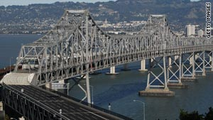 Crews working on the San Francisco-Oakland Bay Bridge are replacing four steel rods.