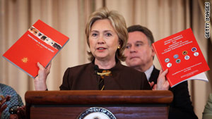 "Secretary of State Hillary Clinton says the report aims ""to shine the light brightly on ... modern slavery."""