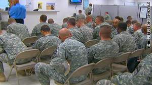 People constantly moved in and out of the Soldier Readiness Center at Fort Hood during a CNN visit in June.