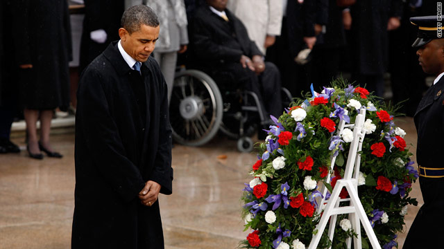 President Obama laid a wreath at the Tomb of the Unknowns on Wednesday.