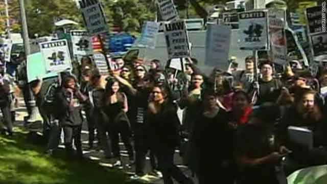Students in Los Angeles, California, protest a 32 percent tuition hike approved by a Board of Regents panel on Wednesday.