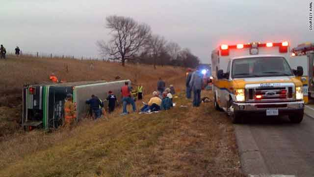 A tour bus headed to Iowa crashed on Interstate 90 outside Austin, Minnesota, late Wednesday afternoon.