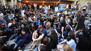 Students block a parking garage last week on the University of California-Los Angeles campus.
