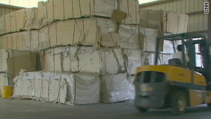 Suspect drywall boards have been stockpiled in warehouses.
