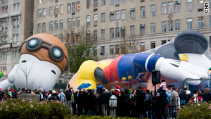 Cartoon balloon characters were inflated in a public ceremony in New York on Wednesday.