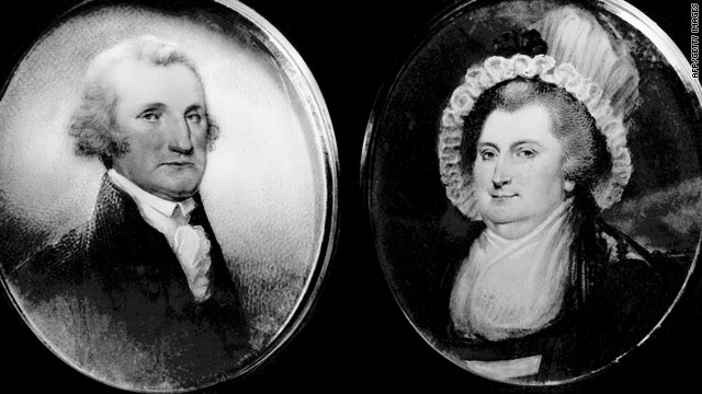 Miniatures of U.S. President George Washington and his wife Martha made in 1792 by Archibald Robertson.