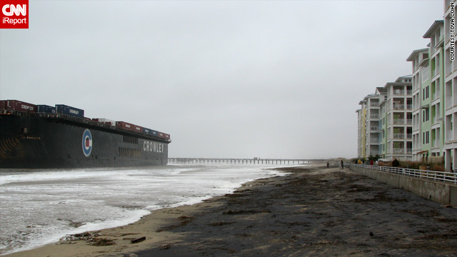 An iReporter in Sandbridge Beach, Virginia, captured this image Friday of a huge freighter in the shallows close to the shore.