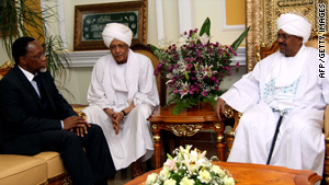 Omar al-Bashir, right, meets South Africa's ANC deputy president Kgalema Motlanthe, left, last week.
