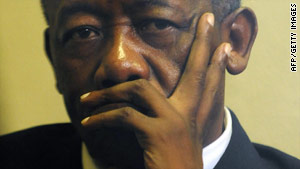 Selebi pictured in April 2009 before the start of his trial on corruption charges