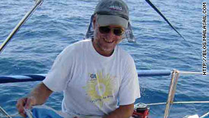 Paul Chandler aboard the couple's boat, the Lynn Rival, in March 2008 as they crossed the Arabian Sea.