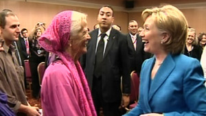 Muriel Johnston, left, meets Secretary of State Hillary Clinton in Morocco.