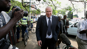 Roy Bennett arrives at the Zimbabwe High Court in Harare on Monday.