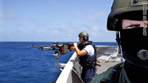 Dutch sailors patrol for pirates off the coast of Somalia earlier this year.