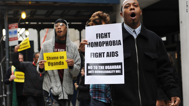 Protesters against a planned anti-homosexuality bill in front of the Ugandan Mission to the U.N. in New York on November 19.