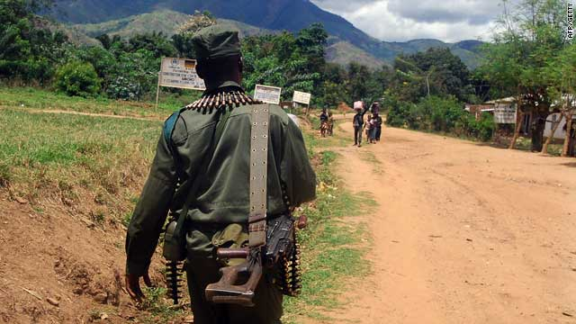 A soldier from the Congolese army [FARDC] patrolling in Mboko in south-Kivu, Democratic Republic of Congo, in early November.