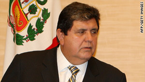 Peruvian President Alan Garcia was scheduled to meet Sunday with his Chilean counterpart, Michelle Bachelet.