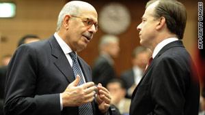 U.N. nuclear watchdog chief Mohamed ElBaradei, left, confers with U.S. envoy Glyn Davies on Friday in Vienna, Austria.