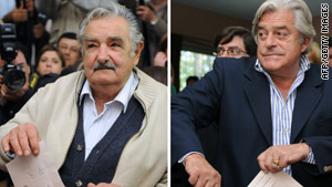 Ex-guerrilla Jose Mujica, left, faces off against former President Luis Alberto Lacalle in Sunday's runoff in Uruguay.