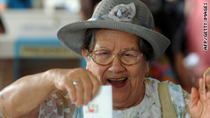 A woman casts her vote in Chile's presidential election Sunday in Santiago.