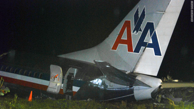 An American Airlines jet overshoots a runway Tuesday in Kingston, Jamaica.