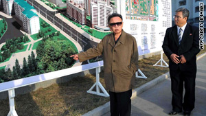 Undated picture shows North Korean leader Kim Jong-Il inspecting new apartments in Pyongyang.