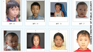 Chinese authorities are searching for the parents of 60 children whose photos appear on a government site.
