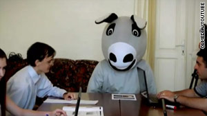 Clip taken from YouTube shows the bloggers interviewing a donkey in their government satire.