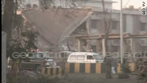 The scene of the explosion in Peshawar on Friday.