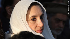 Benazir Bhutto at a campaign rally in Rawalpindi minutes before she was assassinated on December 27, 2007.