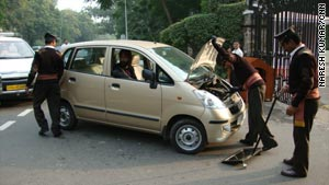 CNN's Harmeet Shah Singh driving into a luxury hotel in New Delhi in late November 2009.