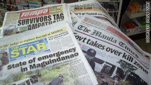 The massacre has dominated the front pages of Philippines newspapers.