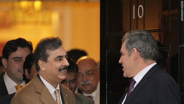 Gordon Brown met with Yousaf Raza Gilani at 10 Downing Street.
