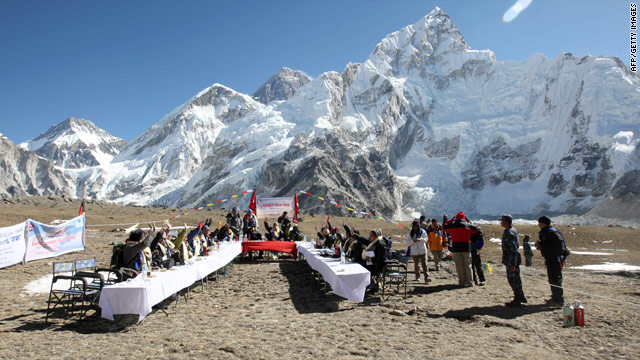 Nepal's cabinet members wore oxygen masks and struggled to speak over the wind at Kala Patthar.