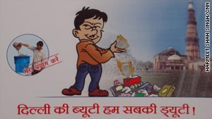 "At the bottom of the city's new anti-litter poster, it reads: ""Delhi's beauty is everyone's duty."""