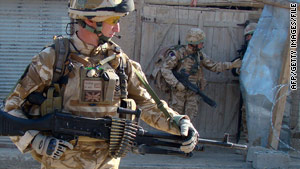 British soldiers with the NATO-led force patrol  Afghanistan's Helmand province last week.