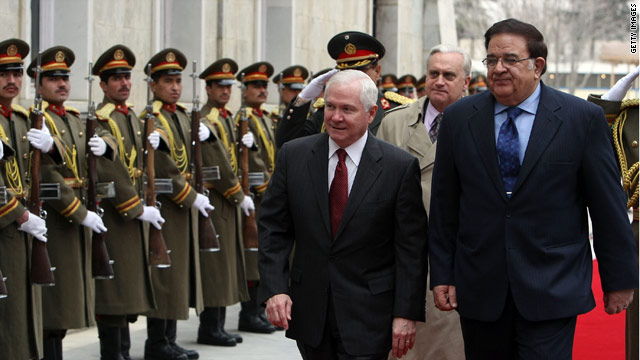 Defense Secretary Robert Gates, center, walks with his Afghan counterpart Abdul Rahim Wardak in Kabul on Tuesday.