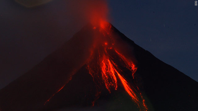 Lava flows down the slopes of the Mayon volcano in the Philippines.
