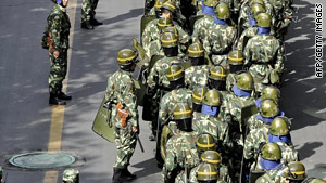 Chinese troops were deployed in the streets of Urumqi during the summer.