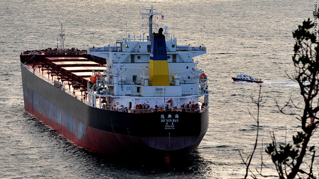 A photo taken on December 29, 2008, shows Chinese cargo ship De Xin Hai leaving the port in Qingdao, in northeast China's Shandong province.