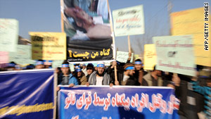 Afghans demonstrate Wednesday against a U.S. operation that the Afghan government says killed civilians.